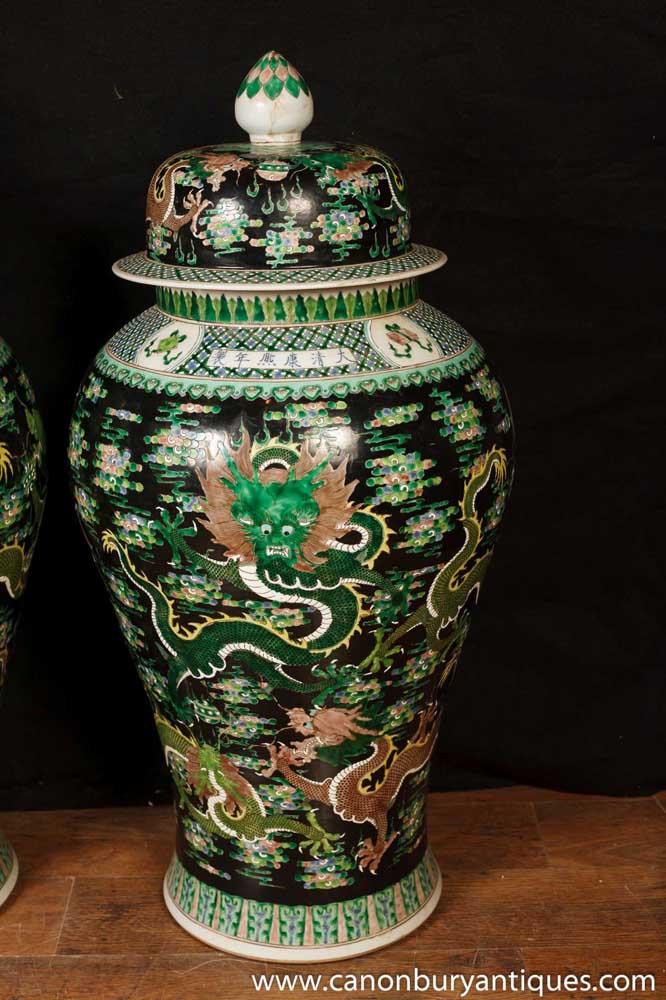 Pair Antique Famille Noire Chinese Porcelain Dragon Urns Vases Temple Jar
