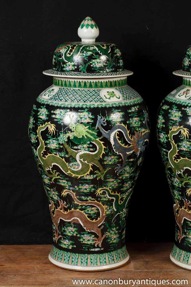Pair Antique Famille Noire Chinese Porcelain Dragon Urns