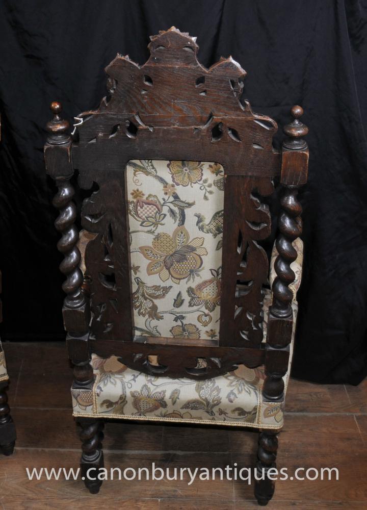 Pair Antique William Mary Oak Arm Chairs Thrones Barley Twist