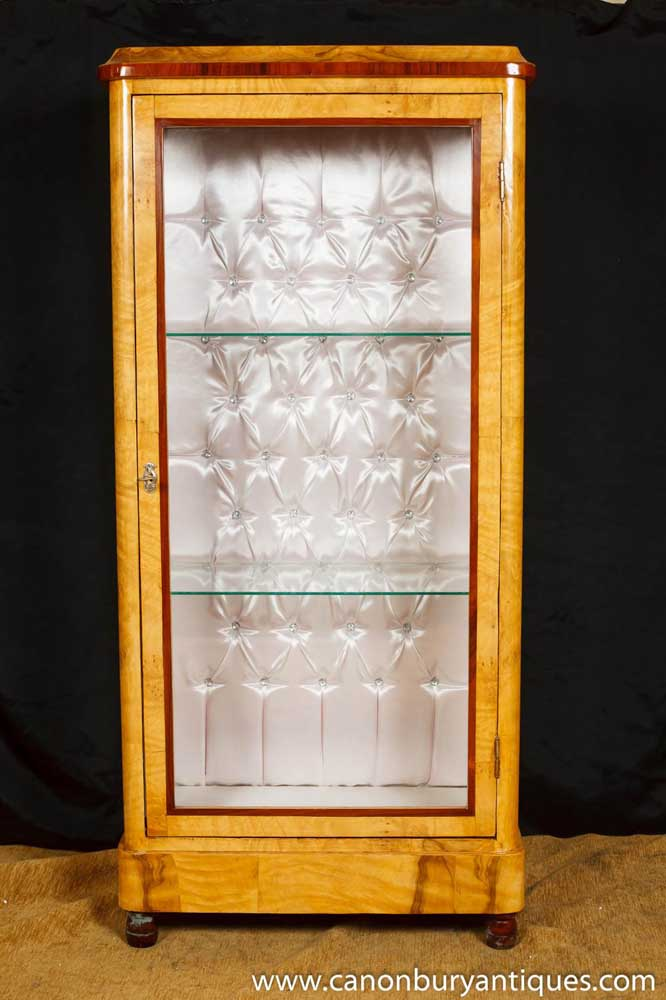 pair art deco display cabinets glass fronted bijouterie bookcase