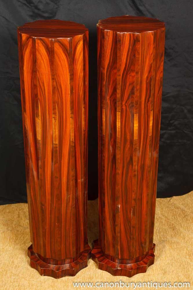 Pair Art Deco Pedestal Column Stands Tables