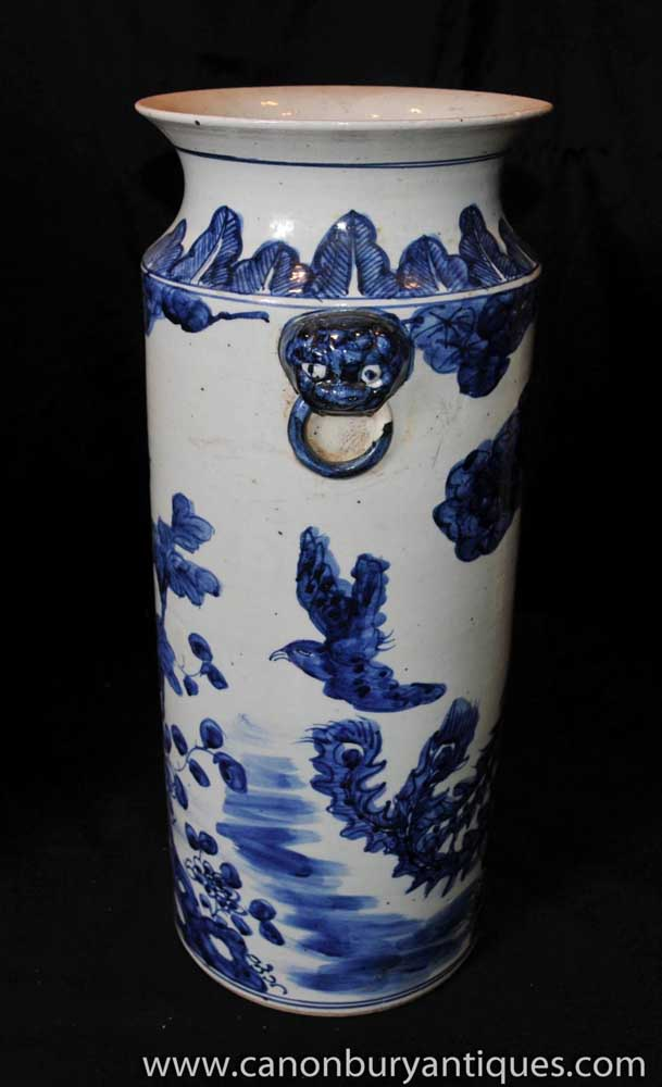 Pair Blue White Chinese Porcelain Umbrella Stands Urns