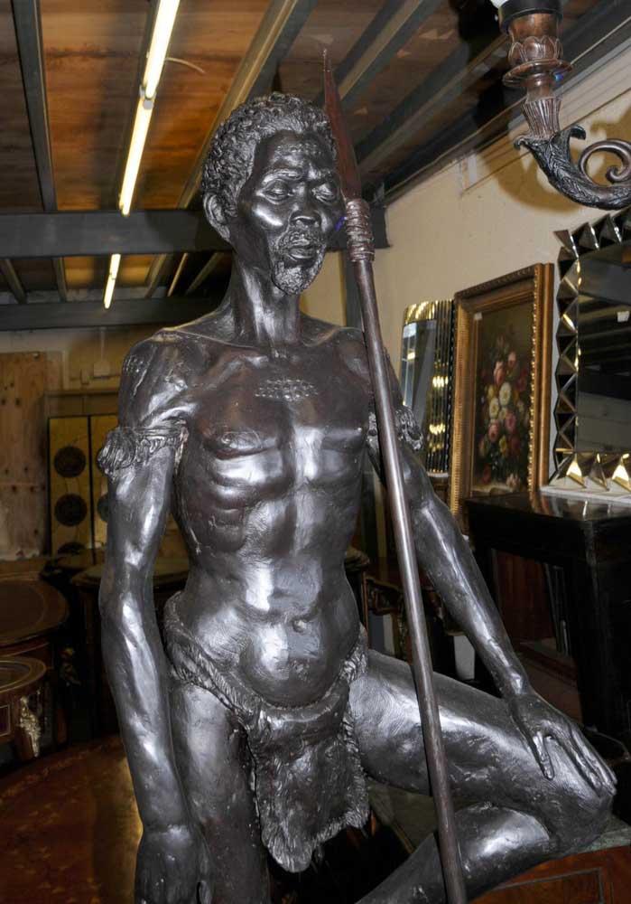 Joe For Oil >> Pair Bronze African Tribal Masai Warriors Statues Art