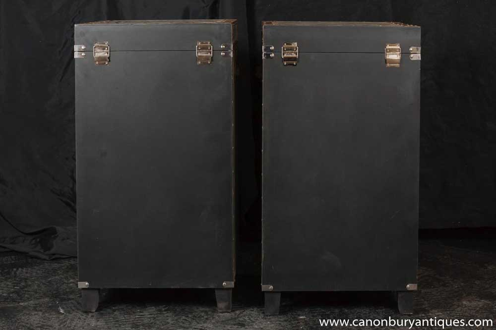 Pair Campaign Industrial Nightstands Chest Drawers Bedside