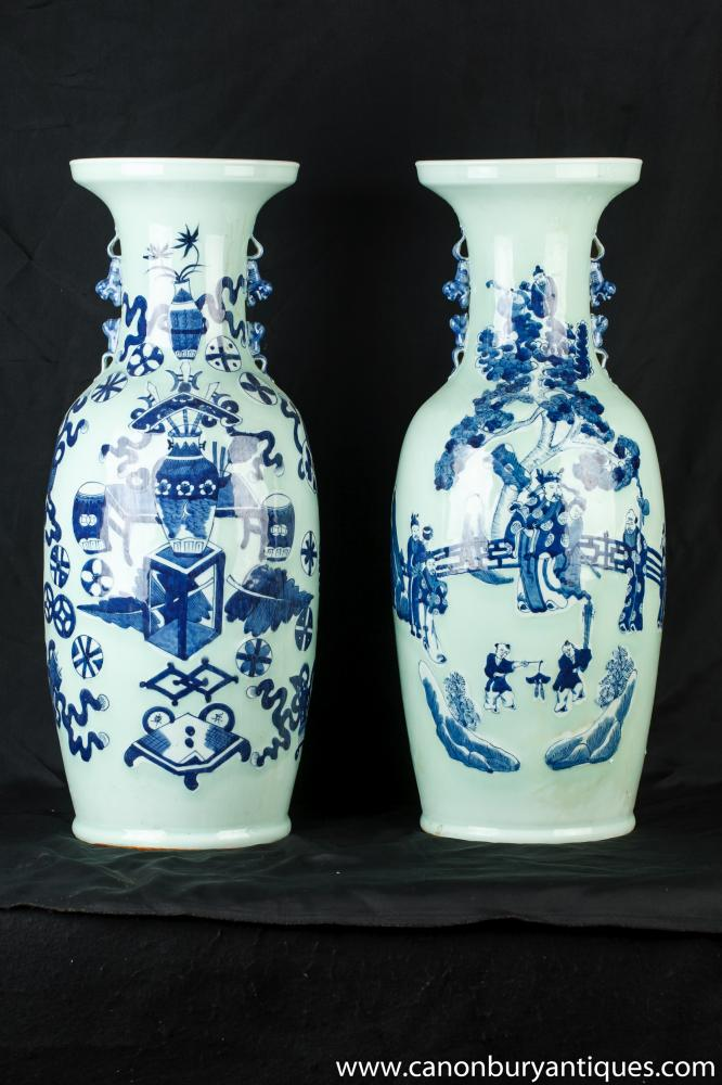 Pair Chinese Celadon Ware Porcelain Vases Urns Hand Painted