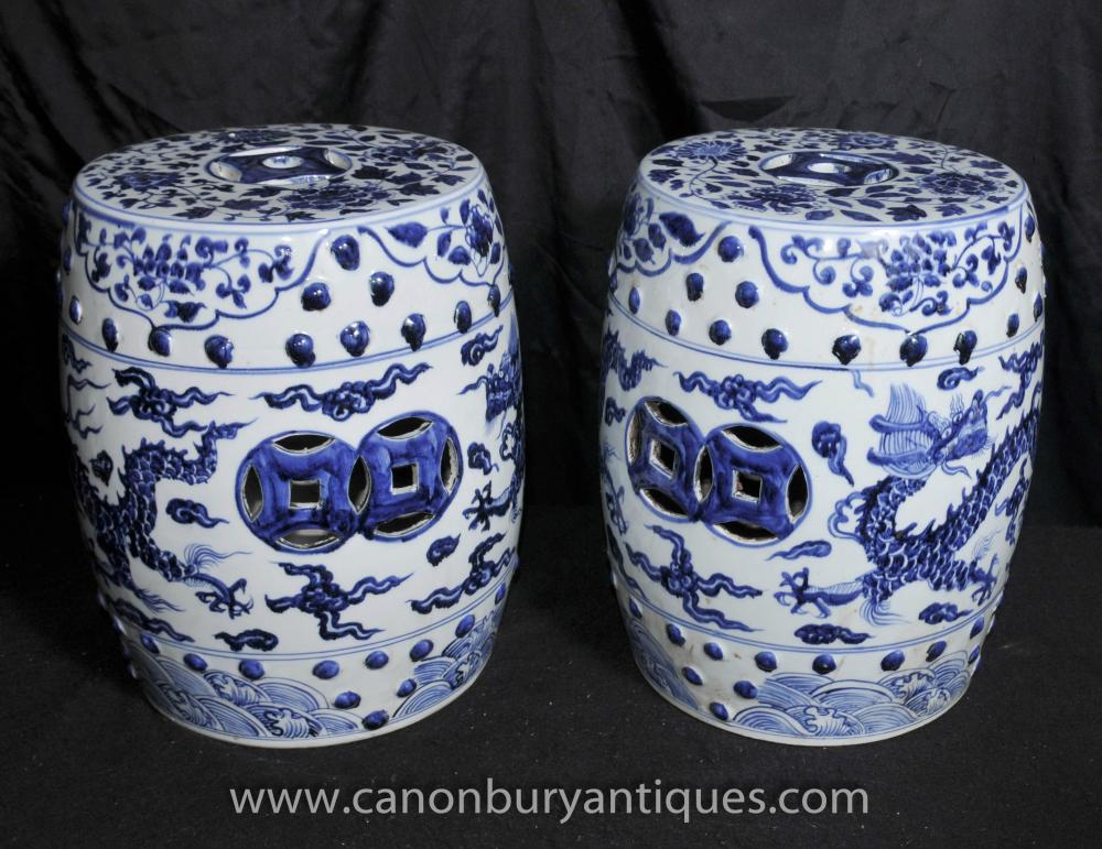 & Pair Chinese Ming Blue and White Porcelain Garden Seats Stools Urns islam-shia.org