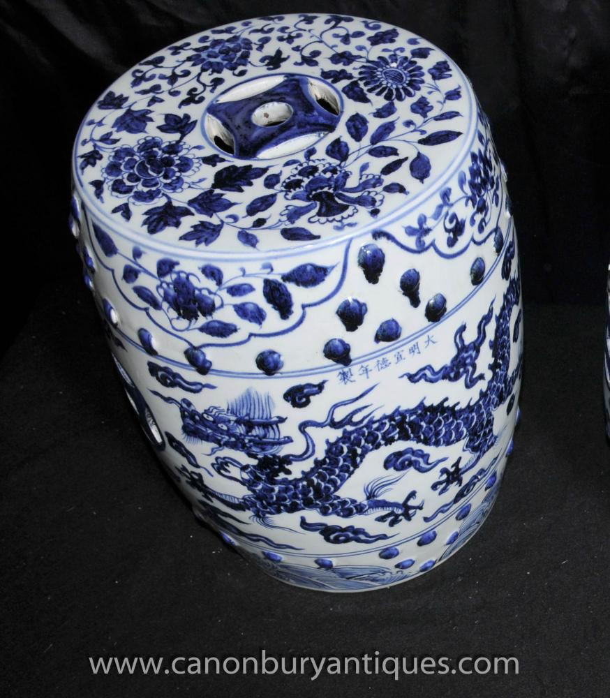 Pair Chinese Ming Blue and White Porcelain Garden Seats ...