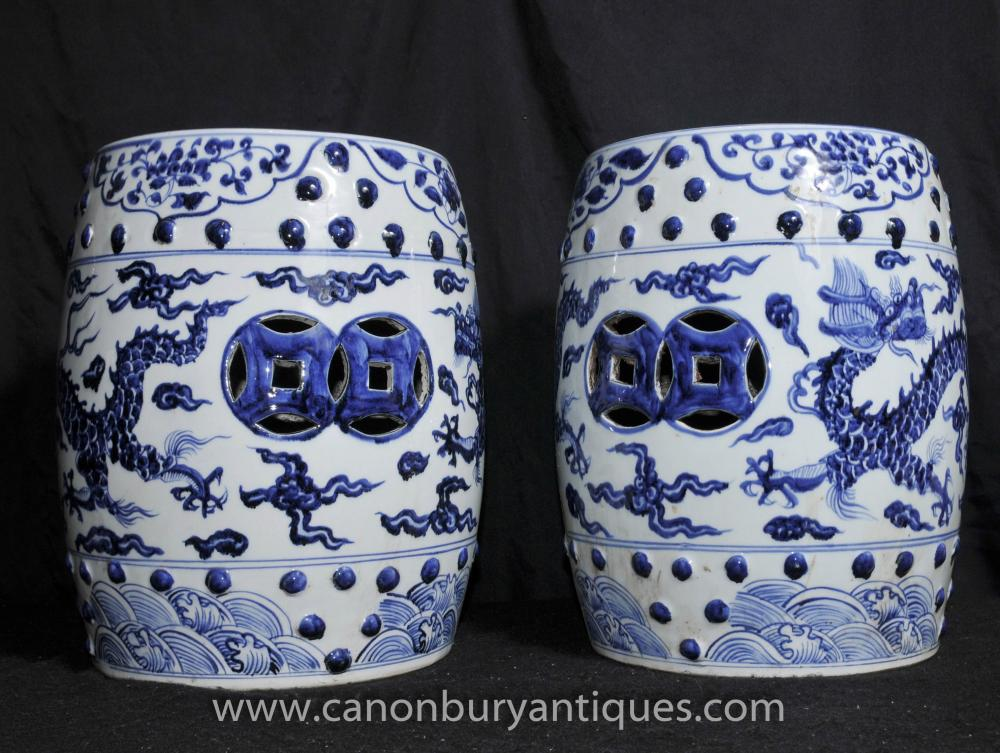 Pair Chinese Ming Blue And White Porcelain Garden Seats