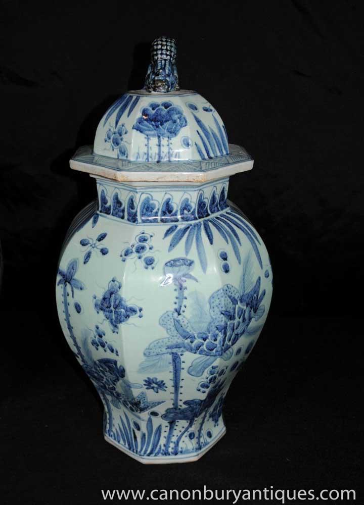 Pair Chinese Nanking Vases Pottery Porcelain Jars Urns
