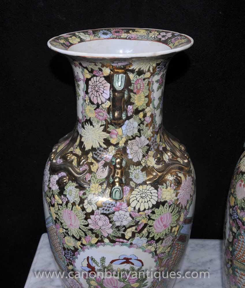 Pair Chinese Rose Medallion Porcelain Vases Urns