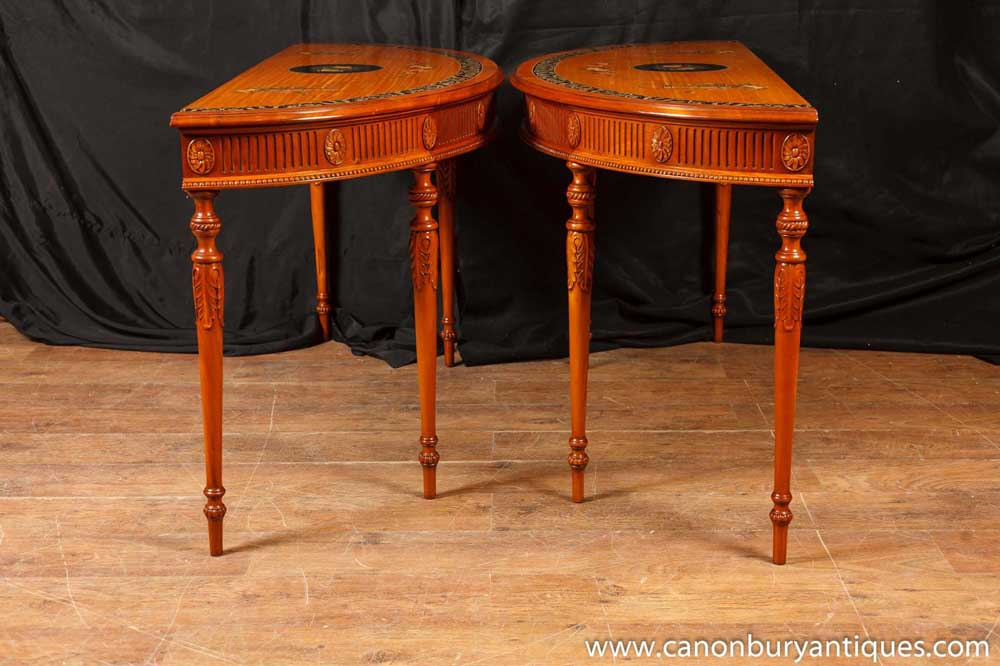 Pair chippendale painted console tables carved demi lune table for Table cuisine demi lune
