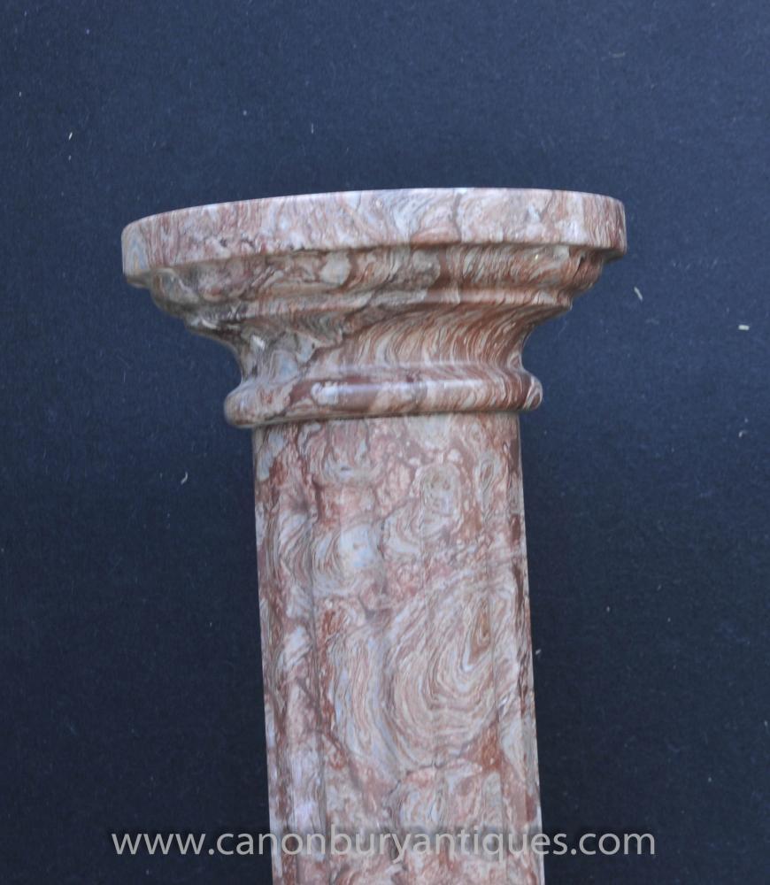 Pair Classic Italian Marble Doric Column Stands Pedestal