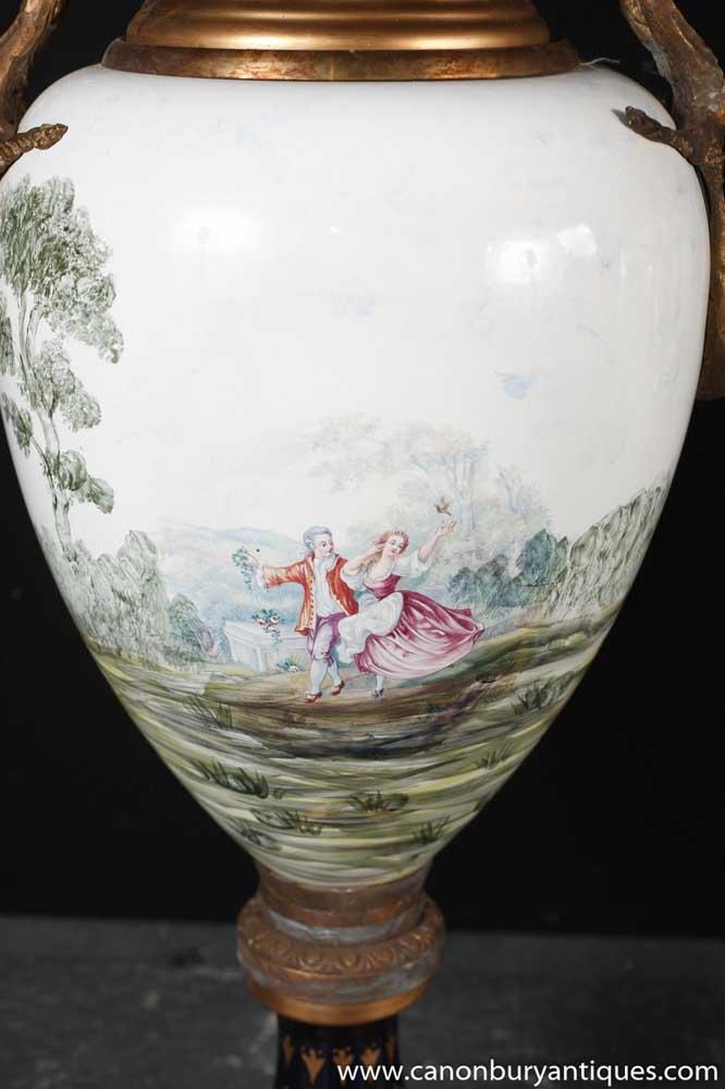 Pair Dresden Porcelain Urns Vases Architectural Pottery