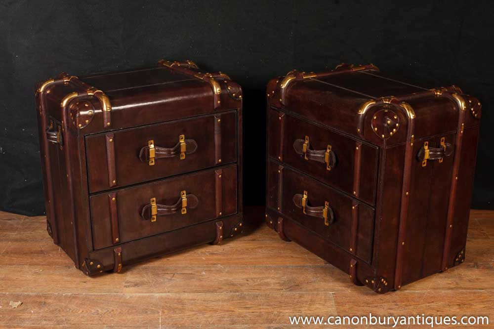 Pair English Leather Chest Drawers Luggage Bedside Chests