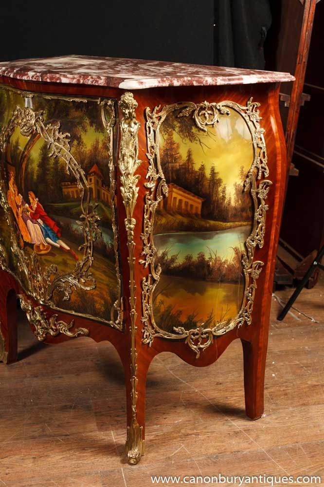 Pair French Antique Louis Xiv Painted Bombe Commodes Chest