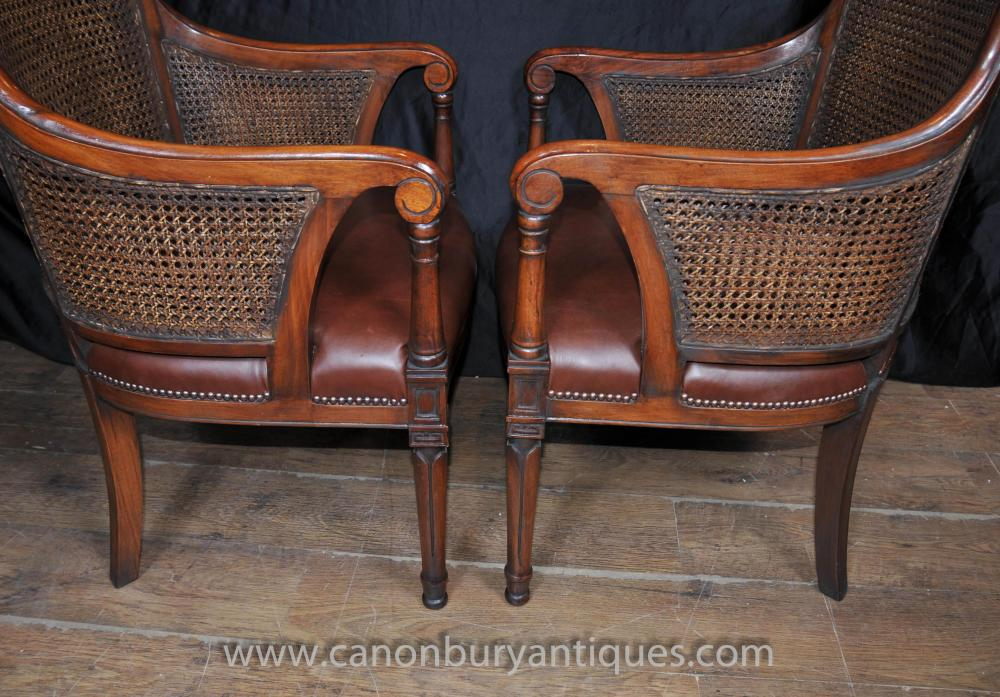 Pair French Bergere Arm Chairs Fauteils Mahogany Rattan Chair