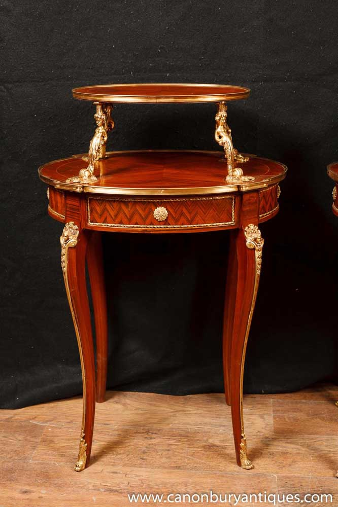 Pair French Empire Etagere Side Tables Kingwood Table