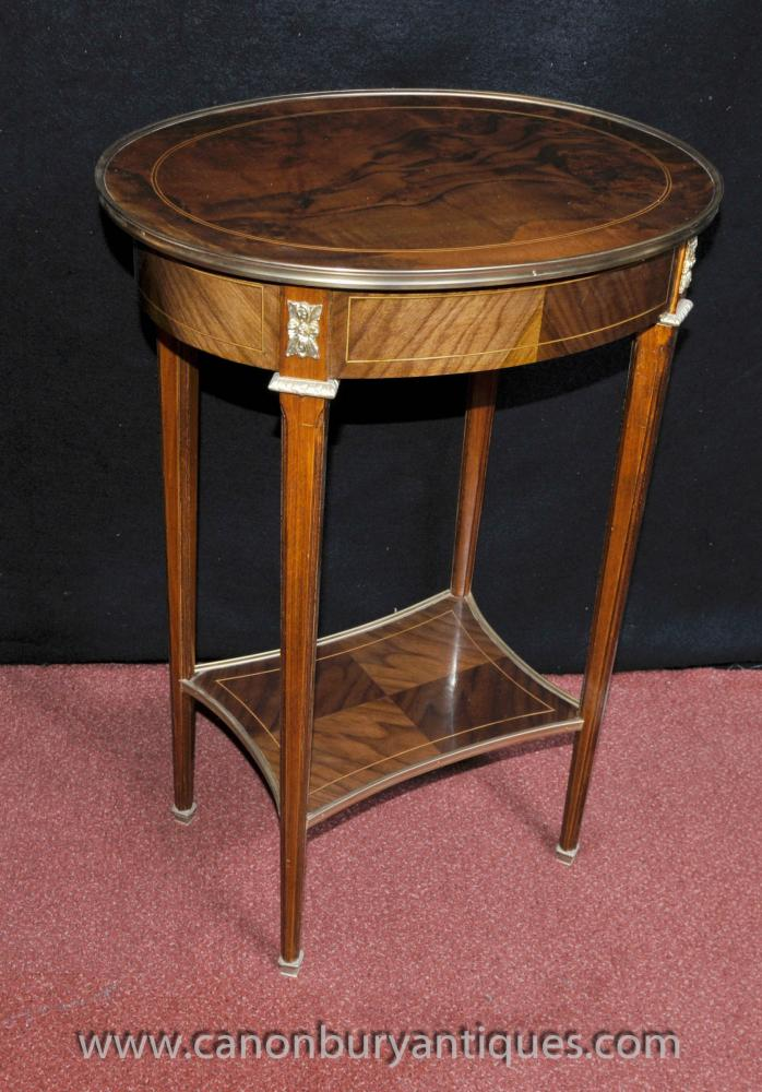Pair French Empire Oval Side Tables Cocktail Accent Table