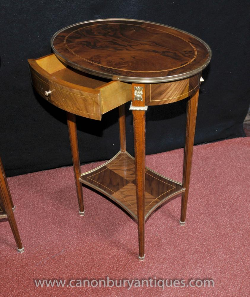 Round Coffee Table Pair: Pair French Empire Oval Side Tables Cocktail Accent Table