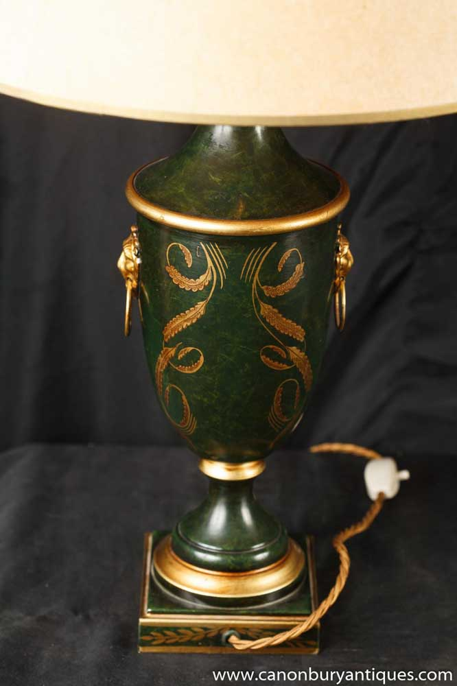 Pair French Empire Table Lamps Porcelain Amphora Urn Lights