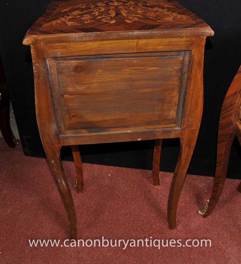 Pair French Empire Tall Bombe Chests Nightstands modes