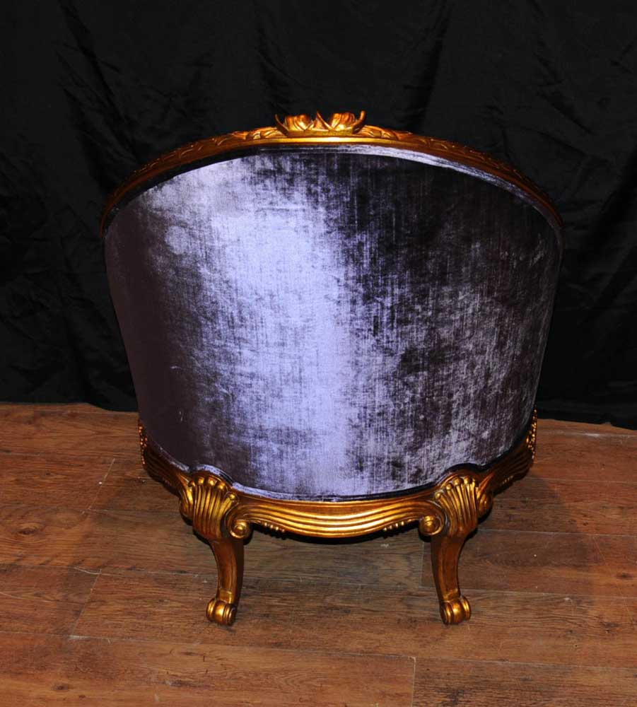 Pair French Empire Tub Chairs Arm Chair Fauteil Gilt Frame