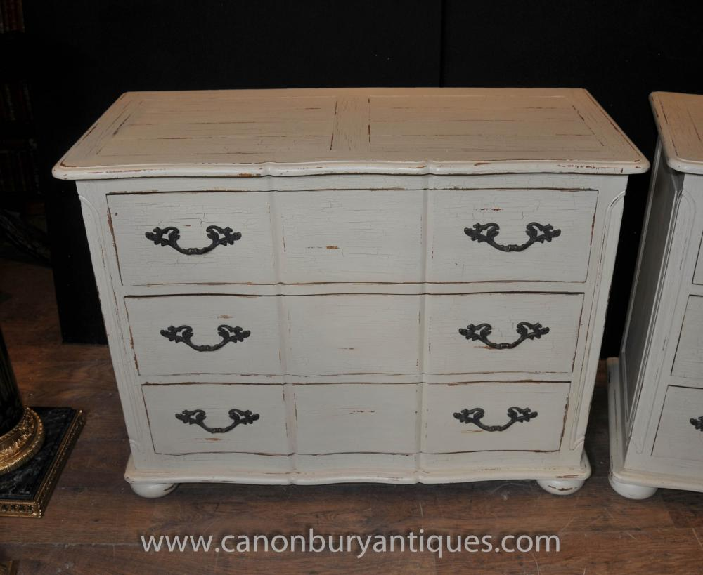 pair french farmhouse chest drawers commodes shabby chic ebay. Black Bedroom Furniture Sets. Home Design Ideas