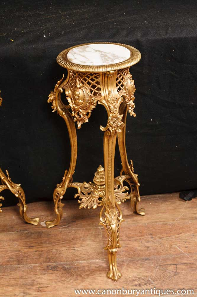 Pair French Rococo Gilt Pedestal Tables Stands Side Table