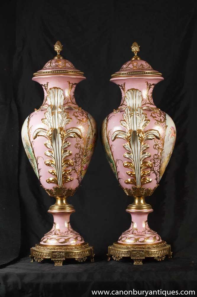 Pair German Dresden Porcelain Pink Angel Vases Urns