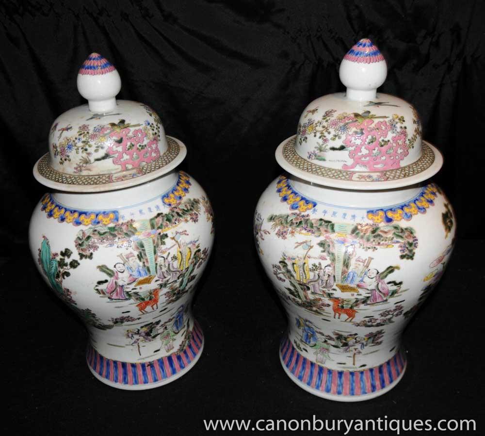 Pair Japanese Kutani Porcelain Painted Lidded Urns Jars Vases