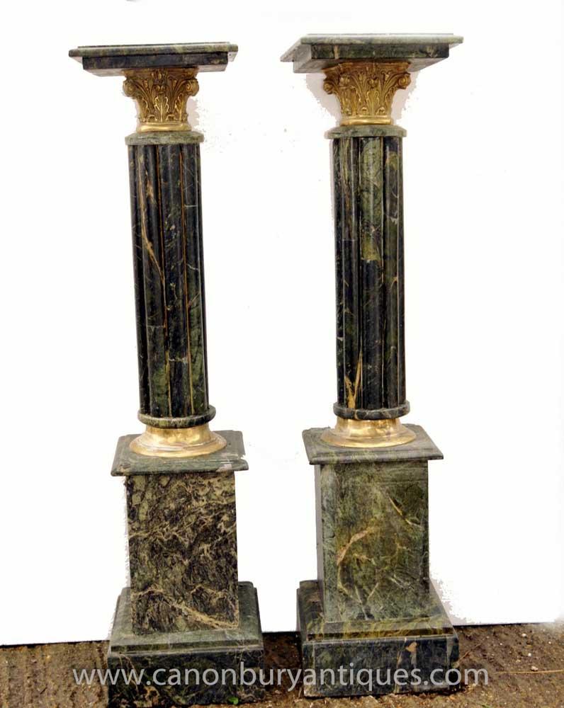 Pair louis xvi marble pedestal corinthian column table stands for Table column