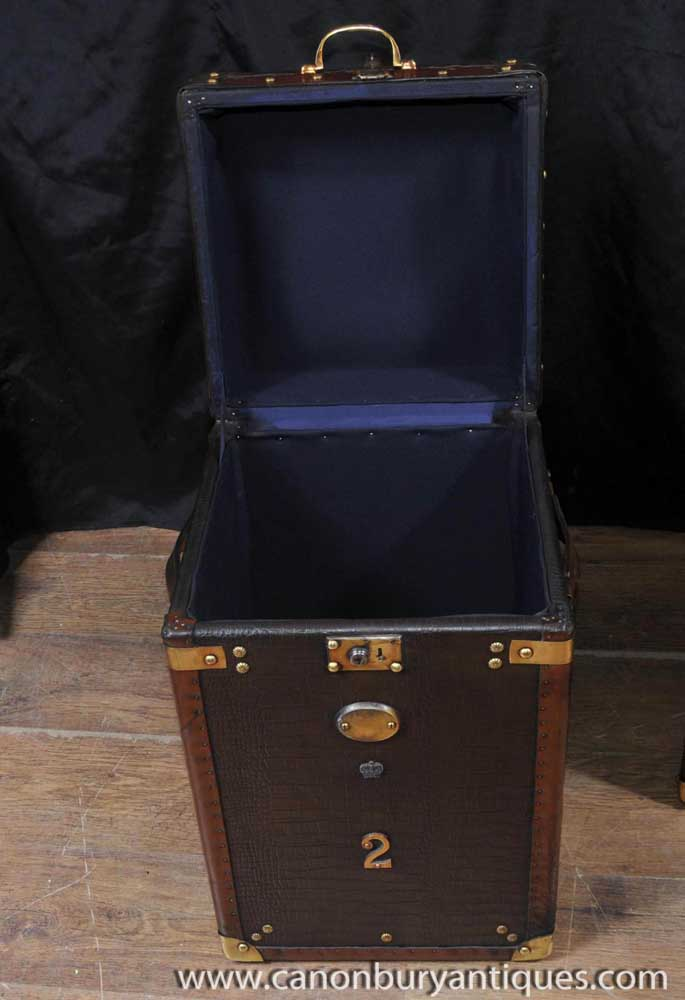 Pair Luggage Trunk Side Tables Case Leather Box Coffee Table