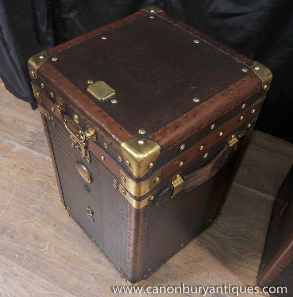 Pair luggage trunk side tables case leather box coffee table for Coffee table and side tables