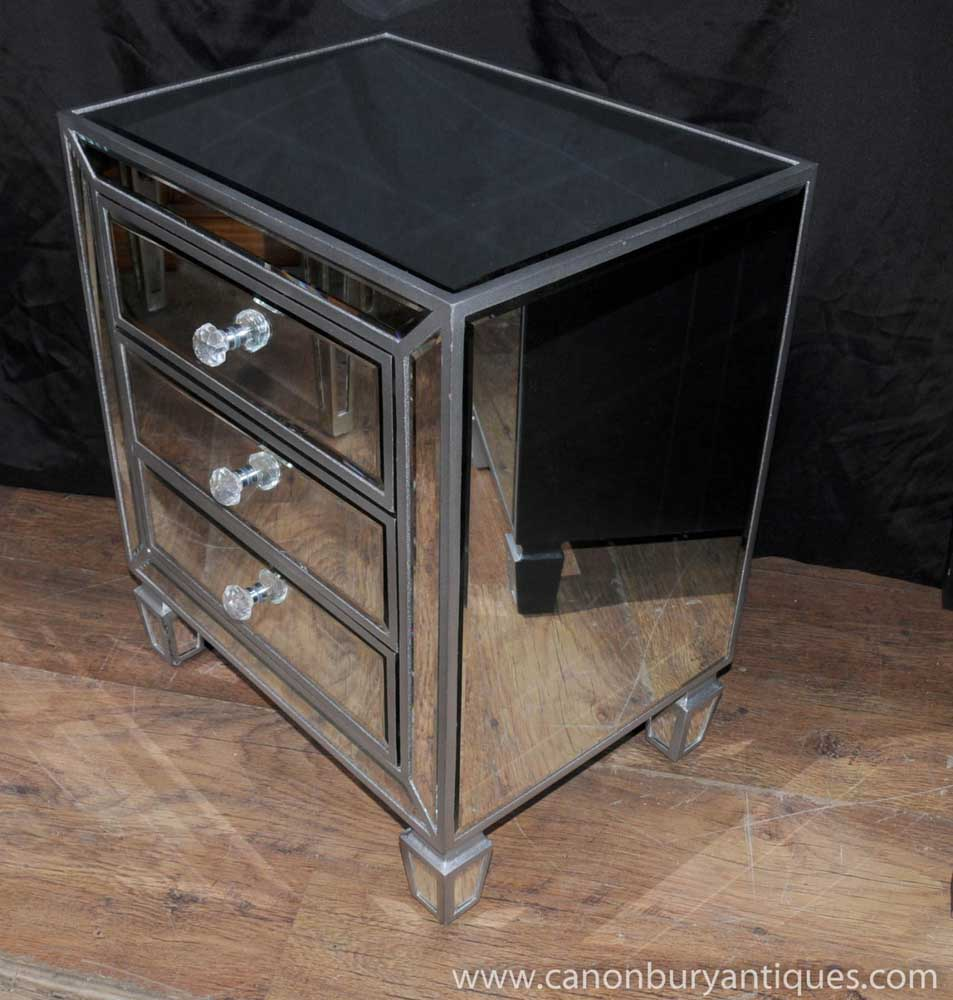 Pair Mirrored Bedside Chests Nightstands Chest Drawers Bedroom Furniture