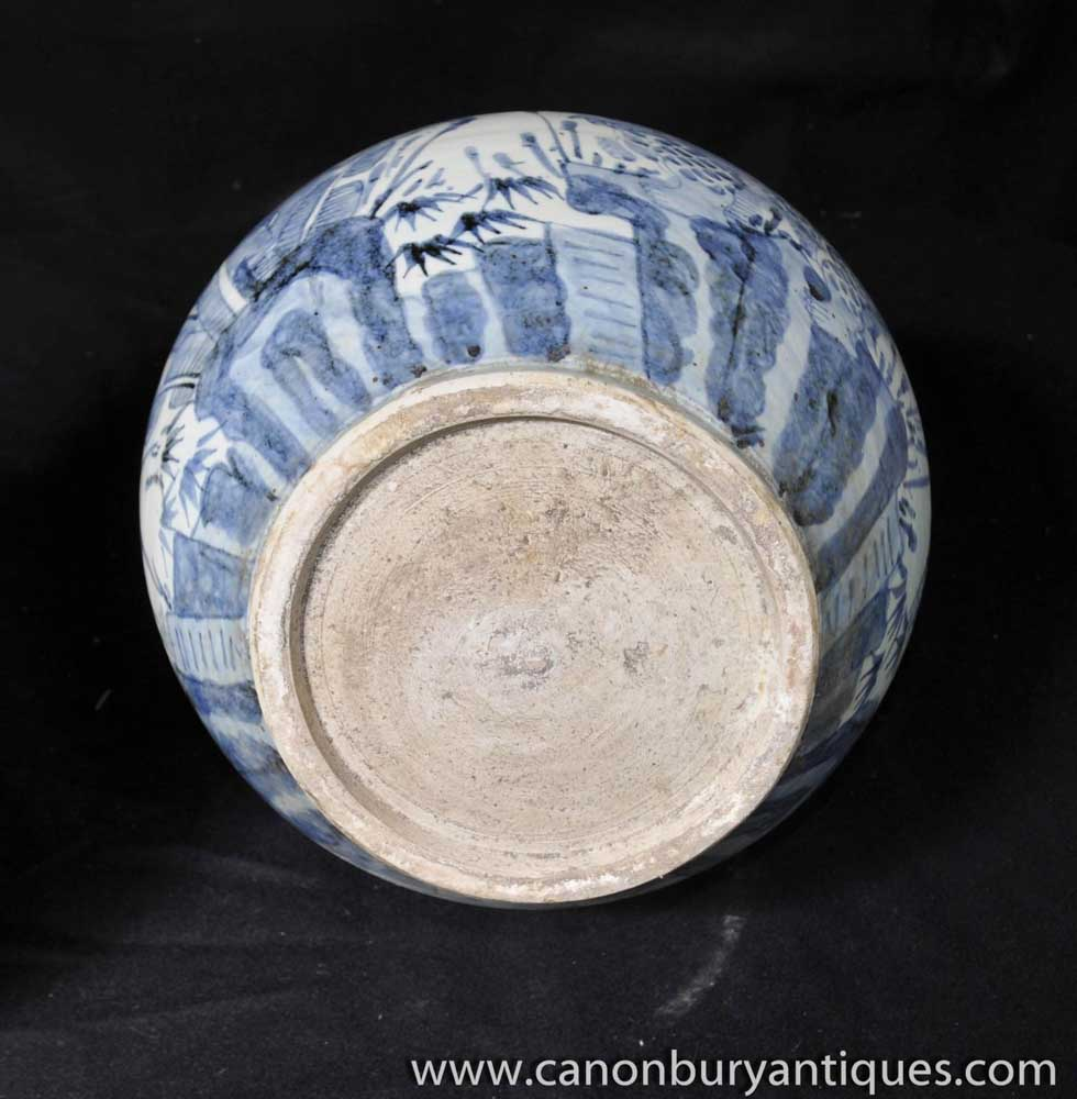 Pair Nanking Porcelain Vases Blue And White Chinese