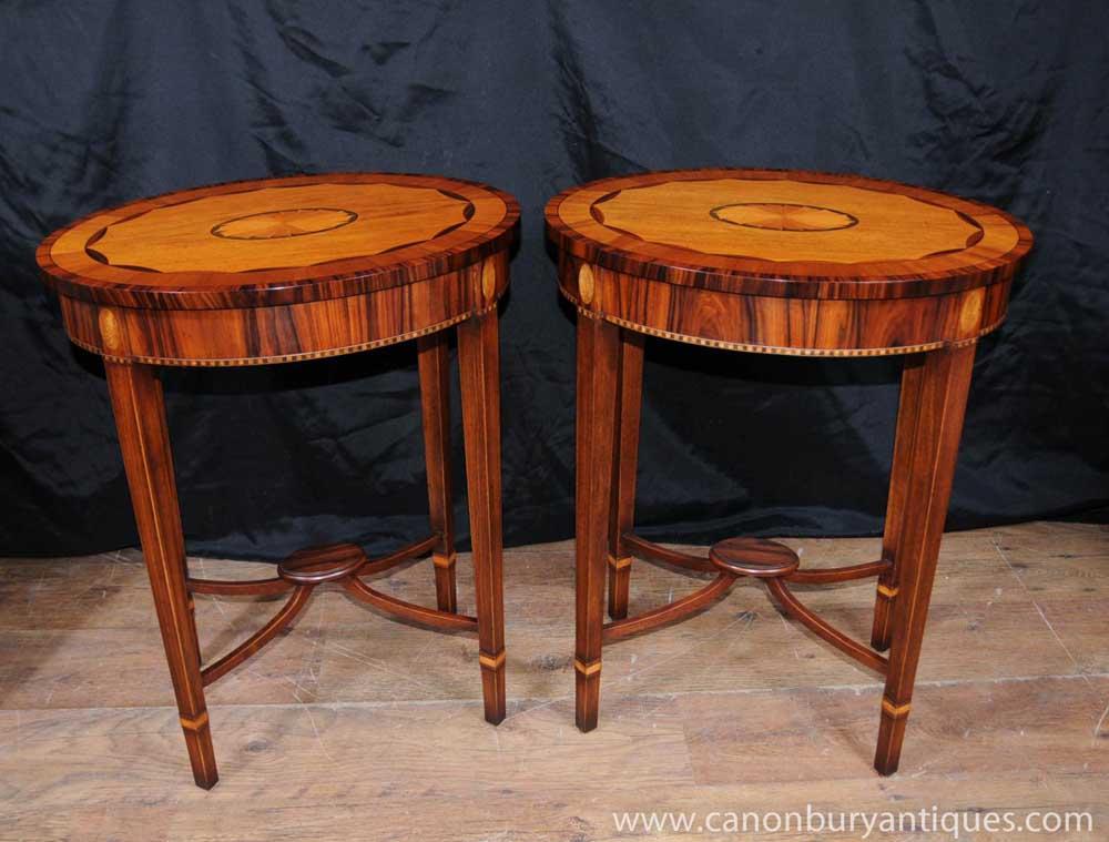 Pair Regency Oval Side Tables Rosewood Satinwood Inlay