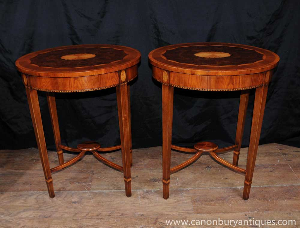 Pair Regency Sheraton Walnut Inlay Side Tables Cocktail Table