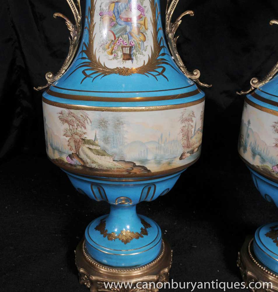 Pair Sevres Porcelain Cyan Vases Urns Ormolu Fixtures