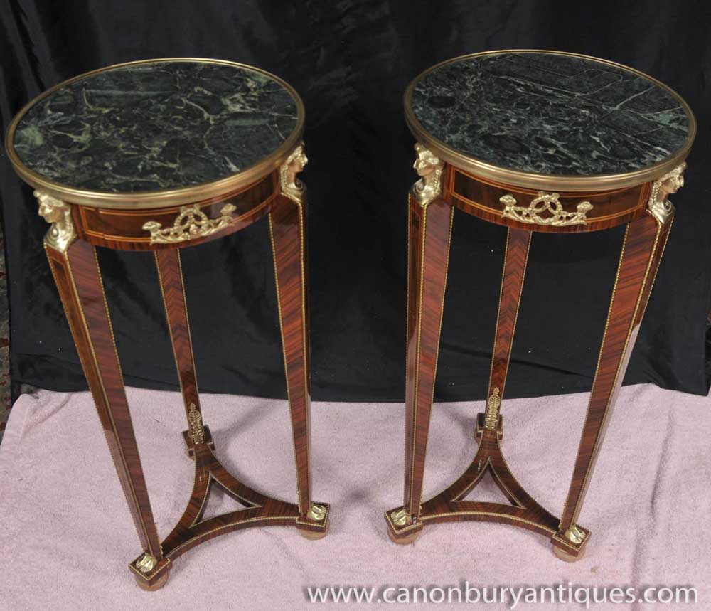 Pair Tall Empire Pedestal Tables Stands Side Table