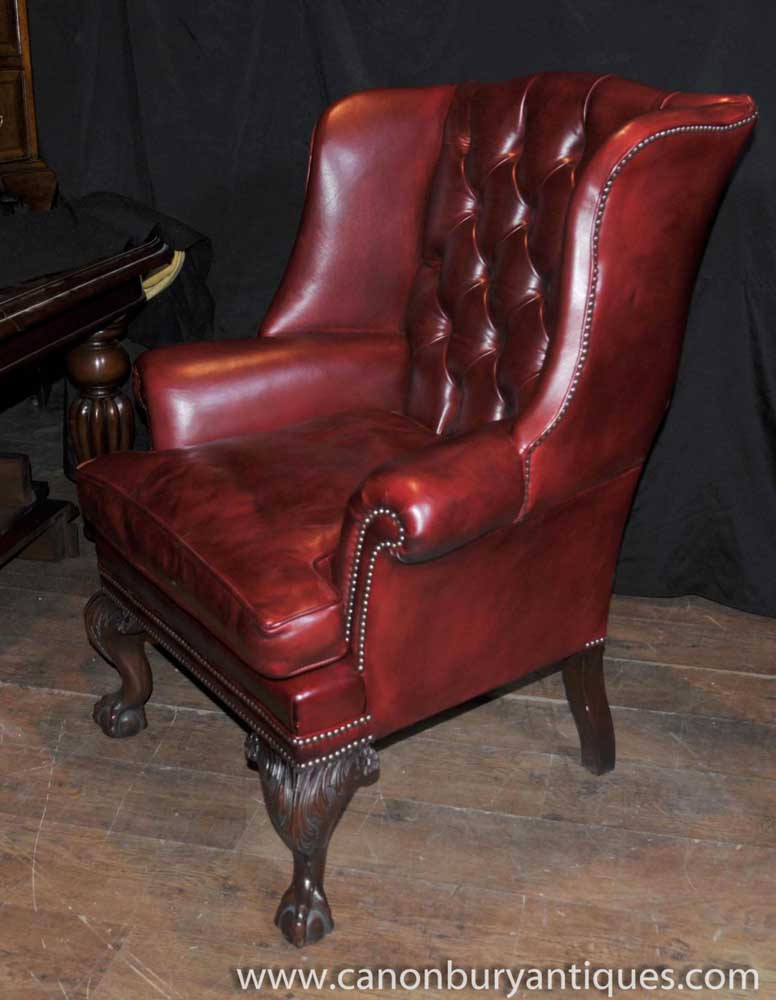 Pair Victorian Leather Chesterfield Arm Chairs Wingback
