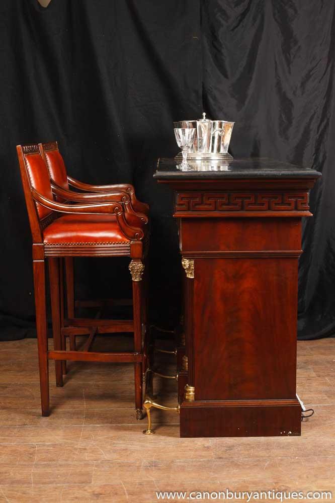 Pair Victorian Mahogany Bar Stools Seats