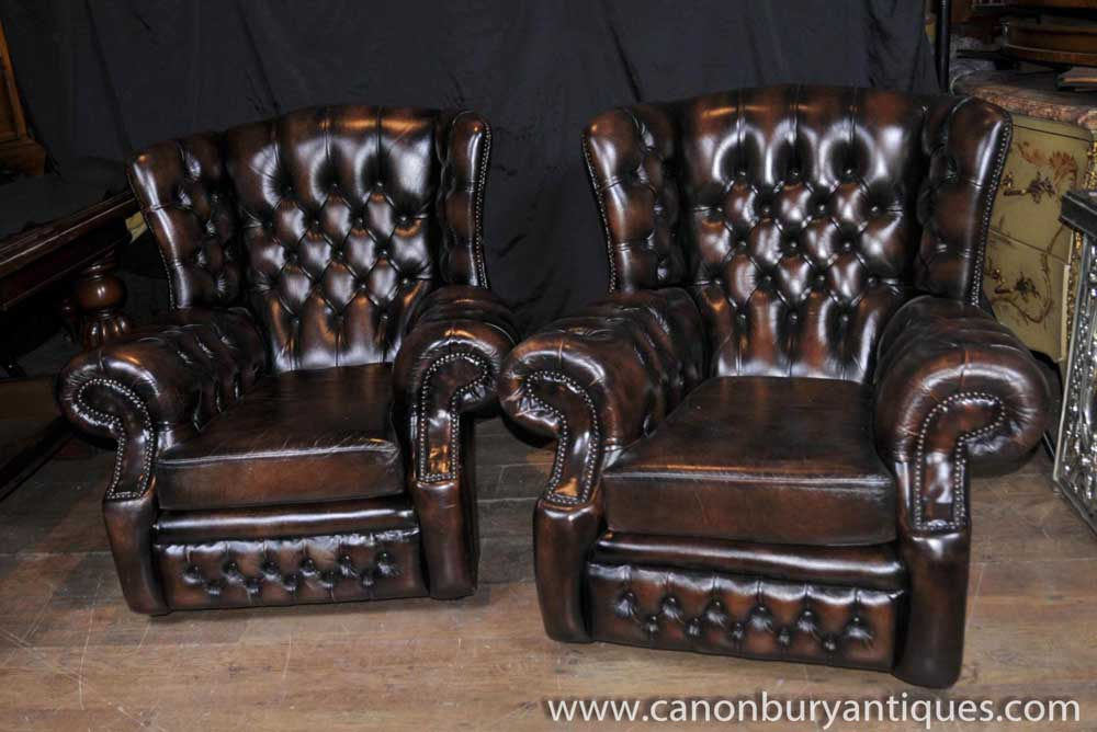Pair Victorian Wingback Leather Sofas English Arm Chairs