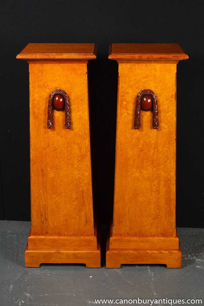 Pair Walnut Arts And Craft Plinths Pedestal Table Stands Deco
