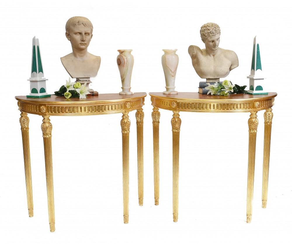 Paar Adams Konsolentische Regency Demi Lune Hall Table Gilt