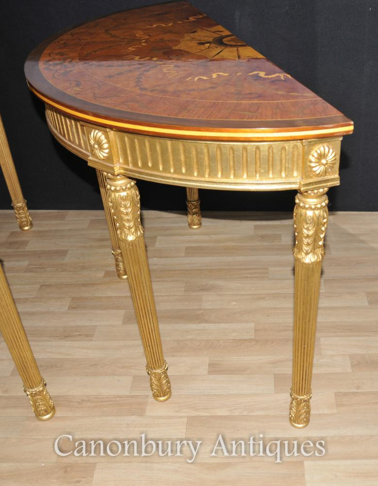 Pair Adams Regency Console Tables Demi Lune Marquetry