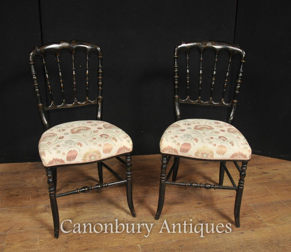 Pair Chinese Chairs Antique Black Lacquer Dining Chair