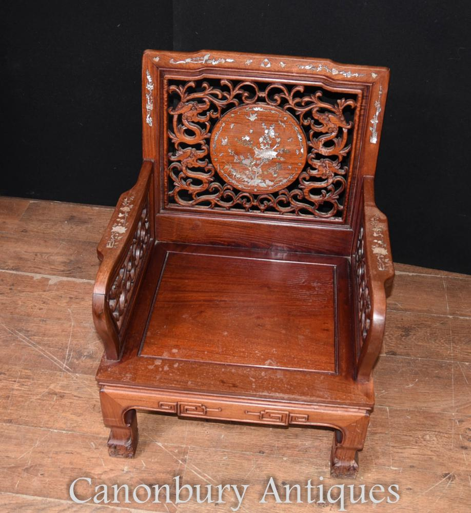 Pair Antique Chinese Hardwood Arm Chairs Mother Of Pearl