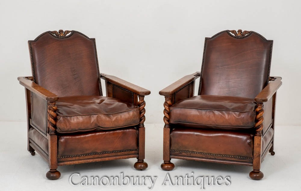 Pair Antique Club Chairs Oak Leather Armchair 1920 product b563