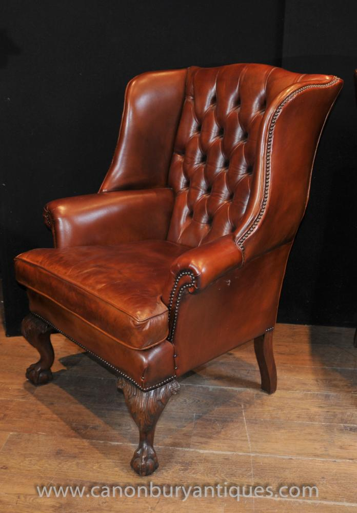 Pair Antique English Wingback Chesterfield Arm Chairs