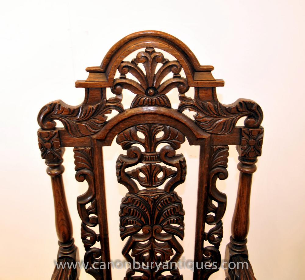 Pair Antique Oak Jacobean Hand Carved Arm Chairs